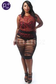 Plus Size Sexy Design Mesh Bodysuit with Midi Skirt Set