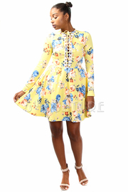 Tie Straps Floral Long Sleeved Skater Dress