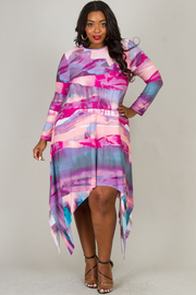 Plus Size Flowy Watercolor Abstract Dress