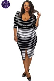 Plus Size 3/4 Sleeved Striped Midi Dress