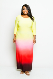 Plus Size 3/4 Sleeved Ombre Colors Maxi Dress