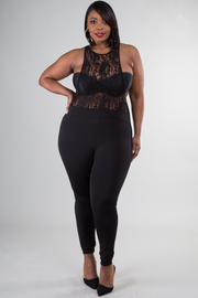 Plus Size Laced Trim Solid Jumpsuit