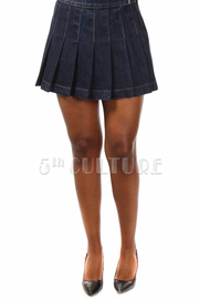 Pleated Flirty Denim Mini Skirt