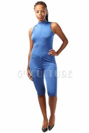 Zipper Down Sleeveless Capri Jumpsuit