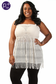 Plus Size Sleeveless Laced Slit Beach Cover-Up