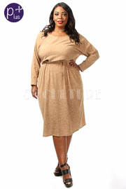 Plus Size Sweater Ribbed Cozy Dress