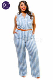 Plus Size Striped Belted Casual Jumpsuit