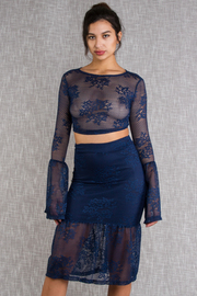 Flirty Laced Cropped Midi Skirt Set