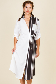 Solid & Striped Pocket Button Down Shirt Tie Dress
