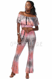 Tie Dye Cropped top with Pants Set