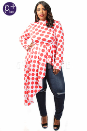 Plus Size Polka Dot Asymmetric Long Sleeved Top