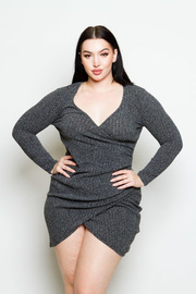 Plus Size Surplice Ribbed Fall Dress