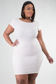 Plus Size Ribbed Short Sleeved Dress