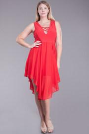 Plus Size Cross Straps Uneven Dress