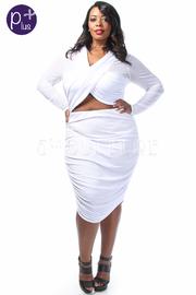 Plus Size Cross Straps Long Sleeved Mesh Tube Dress