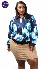 Plus Size Silky Floral Floral Zip-Up Jacket