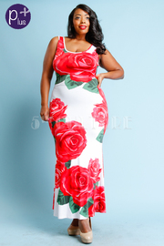 Plus Size Roses Printed Maxi Dress