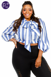 Plus Size Tie Chest Striped Cropped Top