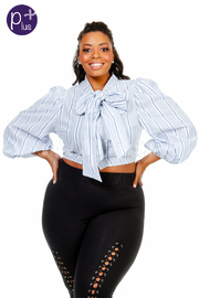 Plus Size Bow Tie Striped Cropped Top