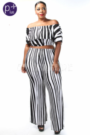 Plus Size Off Shoulder Striped Cropped Pants Set