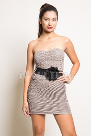 Ruched Strapless Dress With Belt