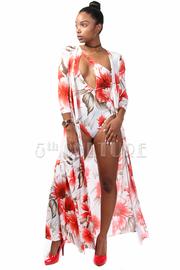 Full Hawaiian Floral Bikini Set with Matching Long Cardigan Included