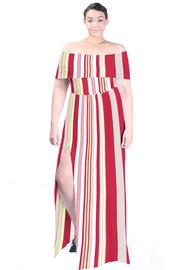 Plus Size Off Shoulder Asymmetrical Lined Maxi Slit Dress