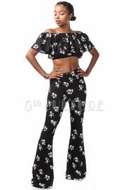 Ruffle Off Shoulder Cropped Pants Floral Set