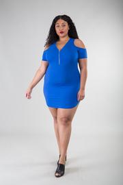 Plus Size Cold Shoulder Zipper Mini Dress