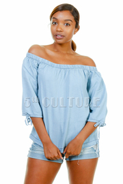 Off Shoulder Casual Denim Top