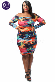 Plus Size Off Shoulder Colorful Abstract Dress