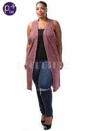 Plus Size Double Slit Marled Long Vest