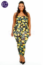 Plus Size Lemon Printed Fit Jumpsuit