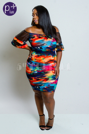 Plus Size Sheer Sleeved Tropical Midi Dress