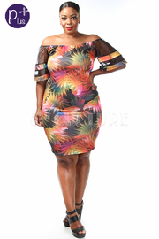 Plus Size Colorful Leaves Midi Dress