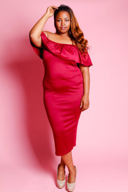 Plus Size Off Shoulder Ruffle Maxi Dress