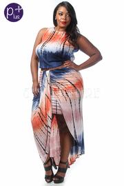 Plus Size Sexy Tie Dye Cropped Maxi Skirt Set