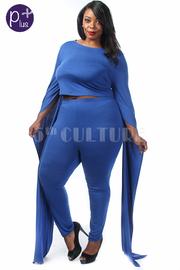 Plus Size Flutter Sleeved Cropped Pants Set