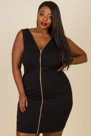 Plus Size Zipper Down Tube Dress