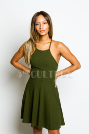 Cross Straps Back Flared Dress