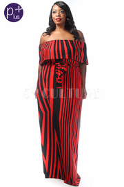 Plus Size Off Shoulder Striped Te Maxi Dress