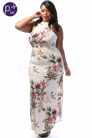 Plus Size Double Slit Floral Maxi Casual dress