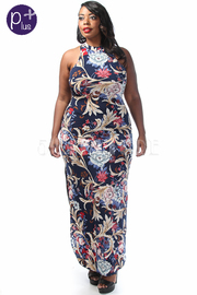 Plus Size Double Slit Vintage Maxi Printed Dress