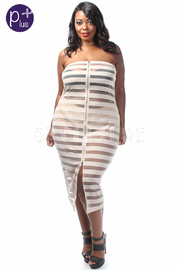 Plus Size Strapless Zipper Down Sheer Striped Midi Dress