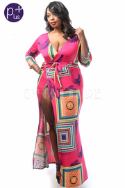 Plus Size Colorful Squared Printed Wrap Maxi Dress