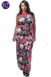 Plus Size Double Slit Floral Maxi Dress