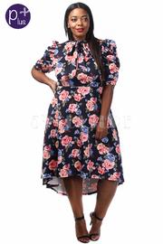 Plus Size Sweet Floral Tie Hi-Lo Dress