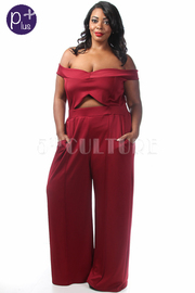 Plus Size Off Shoulder Cutout Waist Jumpsuit