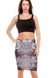 Checkered Floral Midi Skirt
