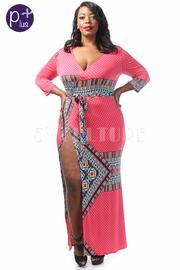Plus Size Vintage Wrap Maxi Dress